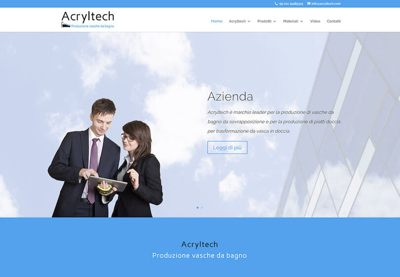 Acryltech produzione vasche da bagno web design agenzia web